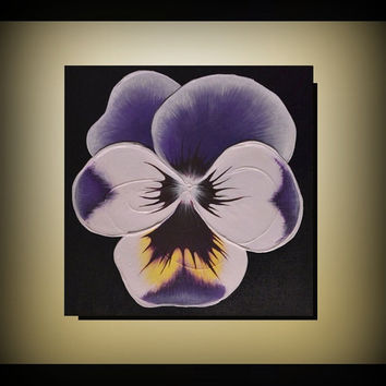Original Wall Art 18x18 Abstract  Home Decor Sculpture White Purple Yellow Pansy Painting, gift for mom