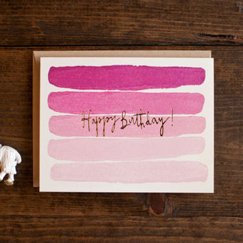 birthday card with pink stripes - hand painted stripes - foil print -  ombre -illustration - retro e