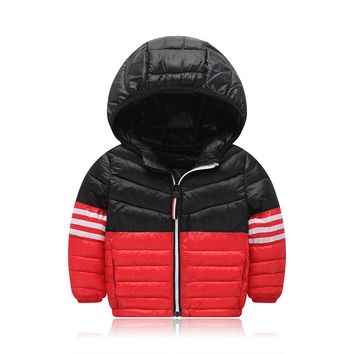 Overalls Winter For Children Casual Fashion Thick  Warm Zipper Hooded Baby Toddler Snow Wear Outerwear Down Coat Clothes