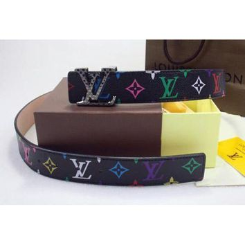 PEAP Louis Vuitton Fashion Woman Men Smooth Buckle Belt Colorful Print Leather Black