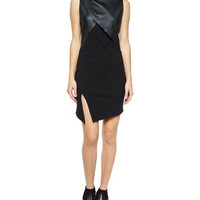 Haute Hippie Sleeveless Ponte Dress w/Slit, Black
