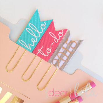 Pink Paper Clips, Planner Bookmark, Planner Accessories, Homework Bookmark - Set of 3