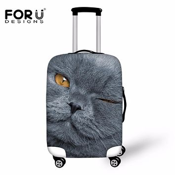 FORUDESIGNS 2018 Fashion Luggage Protector Covers Gray 3D Cat Dog Animal Suitcase Cover For 18-30 Inch Case Travel Accessories