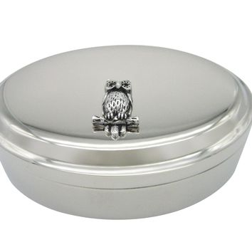 Silver Toned Owl Bird on Branch Pendant Oval Trinket Jewelry Box
