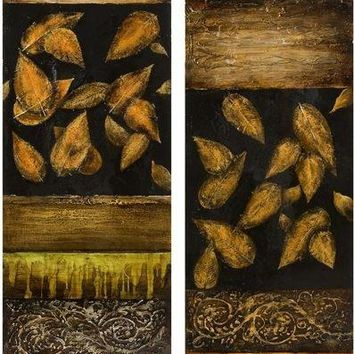 Nadine Falling Leaves Oil Painting - Set of 2
