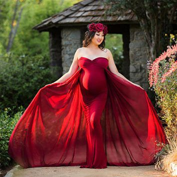 2018 Women Pregnancy Dress For Photo Shooting Sexy Off Shoulder Maxi Maternity Gown Chiffon Maternity Dresses Photography Props