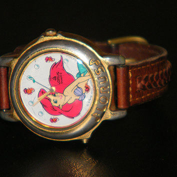 Disney Lorus Little Mermaid Ariel Musical Character Quartz V421-0020 Watch with Leather Band