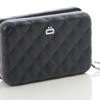 Ogon Quilted Style Aluminum Zipper Credit Card Case - multiple colors