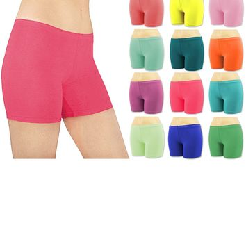 Sexy Women's 6 Pack Cotton Stretch Vibrant Color Boy Short Boxer Briefs