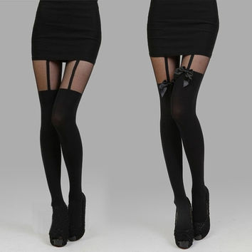 Women Lady Pantyhose Stretch Tights Legging Skinny Bow Stocking Suspender = 1902646212