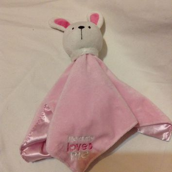 Carters Just Oneyear baby Pink Bunny Mommy Loves Me Security Blanket lovey Plush