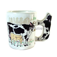 Cow Farm Coffee Mug Holstein Dairy Farming Pasture Calf Black White 3D Handle
