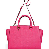 Michael Michael Kors - Zinnia Pink Textured Leather Satchel Bag