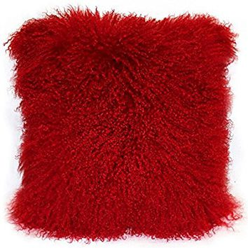 Pillow Decor Mongolian (Tibetan) Lambs Wool Sheepskin Bright Red Throw Pillow