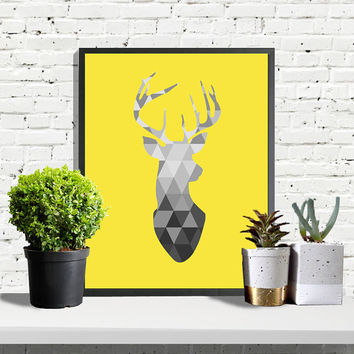 SAVE 50%, Scandinavian Print, Deer Head Print, Yellow Deer Poster, Geometric Art, Yellow Wall Art, Yellow Poster, Nursery Art, Scandinavian