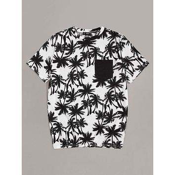 Men Pocket Patch Coconut Tree Print Tee