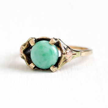 Vintage 10k Yellow & Rose Gold Art Deco Peking Glass Stone Ring - 1930s Size 5 1/2 Marbled Green Cabochon Flower JJ White Fine Jewelry