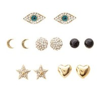 Gold Evil Eye Stud Earrings - 6 Pack by Charlotte Russe