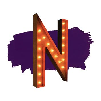 """36"""" Letter N Lighted Vintage Marquee Letters (Rustic)"""
