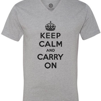 Keep Calm and Carry On (Black) Short-Sleeve V-Neck T-Shirt