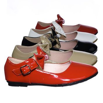 Gloria64K Children Girls Mary Jane Round Toe Ballet Bellarina Flat w Bow