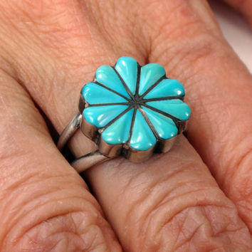 Vintage Turquoise Sterling Silver Ring Zuni Sterling Turquoise Flower Ring Turquoise Inlay Ring Turquoise Silver Signed Native American Ring