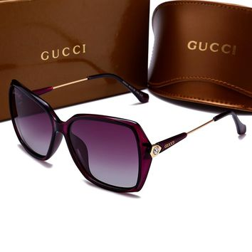 GUCCI Popular Ladies Men Casual Sun Shades Eyeglasses Glasses Sunglasses Purple I-HWYMSH-YJ