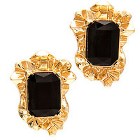 The Rose Pyrite Earrings in Black and Gold