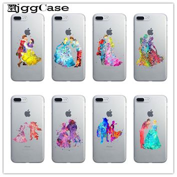 Beauty and the beast Watercolor Cinderella and the prince Case For iPhone 6 6s 5 5s SE 7 7Plus 4 Silicone Cell Phone Cases Cover