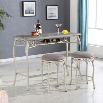 Acme 72520 3 pc Irmeda dark gray finish and metal frame counter height dining table set