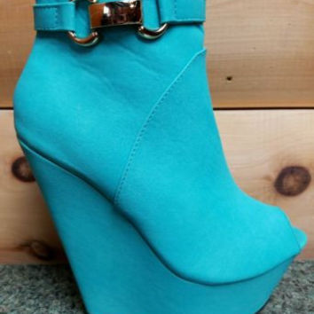 """India Open Toe Platform Wedge Ankle Boot Shoes Mint Green - 6.5"""" heels"""