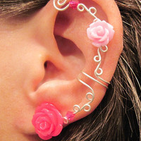 "Non Pierced Ear Cuff  ""Roses are Pink"" Cartilage Conch Cuff Silver tone and Lucite Roses Wedding Prom Quinceanera"