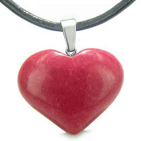 Amulet Large Puffy Heart Lucky Charm in Cherry Red Jade Gemstone Good Luck Power