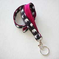 Lanyard ID Badge Holder - Dark Navy Black and white elephants with white polka dots on Sangria red - Lobster clasp and key ring
