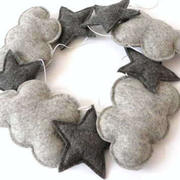 Cloud and Star Garland, Grey Nursery Garland, Nursery Wall Decor, Gender neutral nursery idea, Monochrome Baby Decor, Product ID: LRZ2341