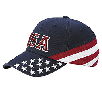 Corona Collection Men's Washed USA Flag Cap with 3D USA Embroidery