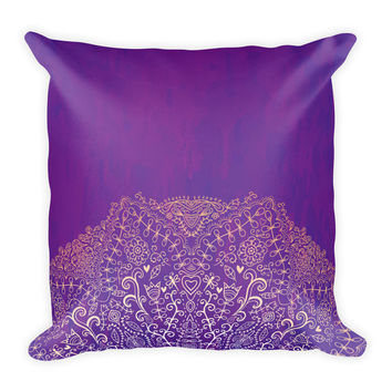 Dark Purple Mandala Throw Pillow Boho Chic Decor