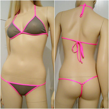 Sheer custom set lingerie see trought womens underwear made to measure - ARKADIA -  Custom colors, fabrics and size - Made to order