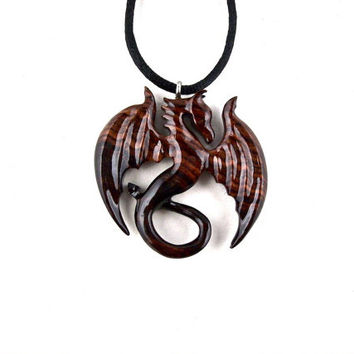 Dragon Pendant, Dragon Necklace, Dragon Jewelry, Carved Dragon Necklace, Wood Dragon Necklace, Wood Statement Necklace, Fantasy Jewelry