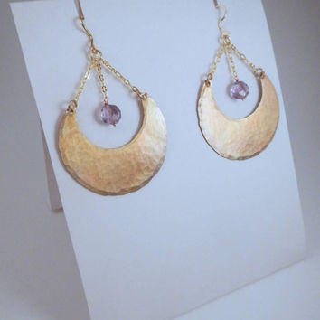 Gold Moon Earrings, Crescent Moon Earrings, Amethyst Dangle Earrings, Hammered Copper Earrings, Healing Crystal Earrings, Gold Hoop Earrings