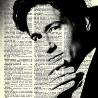 "Agent Mulder - David Duchovny - X Files - Paper Ephemera - 8x11""  Print on Vintage repurposed paper - Dictionary Art Print"