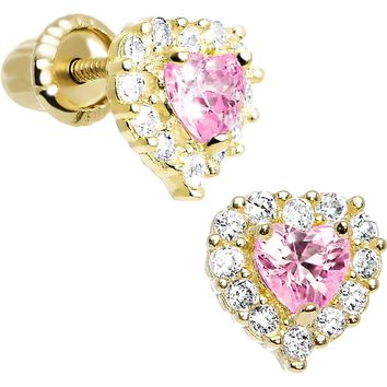 14kt Yellow Gold Heart CZ October Birthstone Youth Screwback Earrings