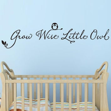 Kid Room Decor Letter Grow Wise Little Owl Decals Removable Wall Sticker SM6