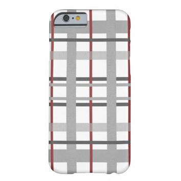 Gray / Grey Burgundy Plaid Fabric Textured Barely There iPhone 6 Case