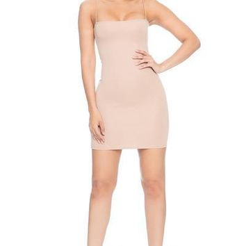 7th Street Class String Tank Dress- NUDE