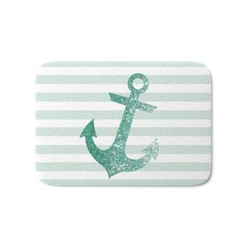 "Autumn Fall welcome door mat doormat MINT GLITTER ANCHOR Bath Mat 21"" x 34"" Rugs Flannel s Waterproof Kitchen Bedroom Carpet AT_76_7"