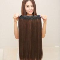 "hot sale 55cm/21.6"" straight synthetic hair 5 clips in Hair Extensions fahsion cosplay hair120g Long Lady's hair Free Shipping"