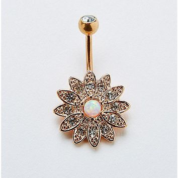 Opal-Effect Flower Belly Ring - 14 Gauge - Spencer's