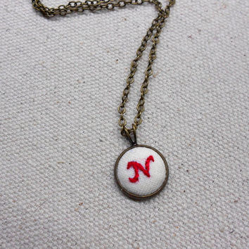Custom embroidery monogram necklace Handwriting jewelry Cute gifts for teen girls Personalize necklace Embroidered letter necklace