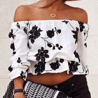 OLRAIN Slash Neck Floral Print Loose Off Shoulder Crop Top Shirt